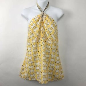 Ann Taylor Loft Halter Blouse Link Chain Yellow 10